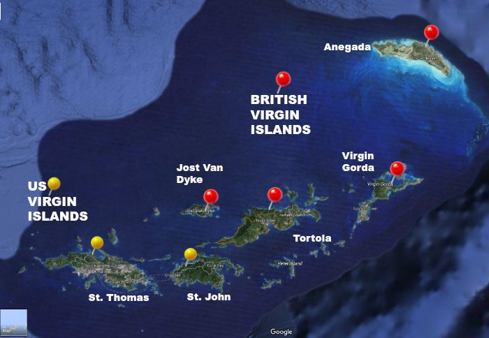 bvi and us virgin islands map