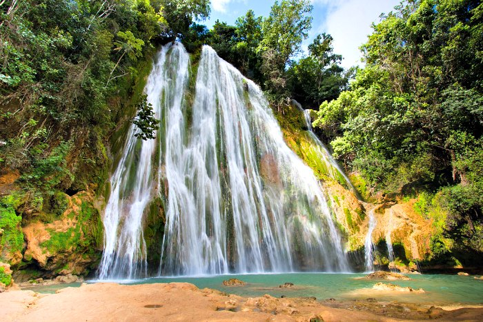 El Limon Waterfall in Samana, Dominican Republic