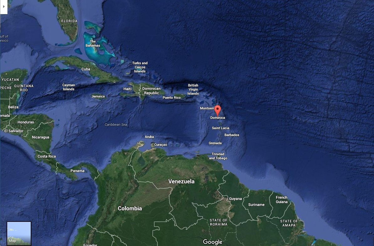 Dominica Vacation Travel Guide - Map of dominica caribbean sea