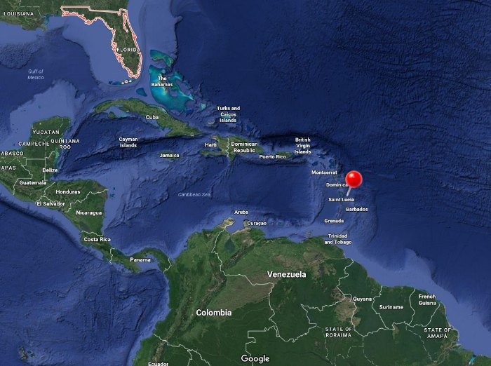 Where is St. Lucia on the map?