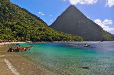 Jalousie beach in St. Lucia