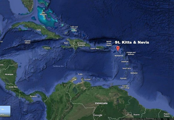 St. Kitts and Nevis on the map